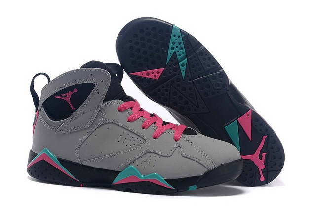 Womens Air Jordan 7 Shoes Cool grey/pink black