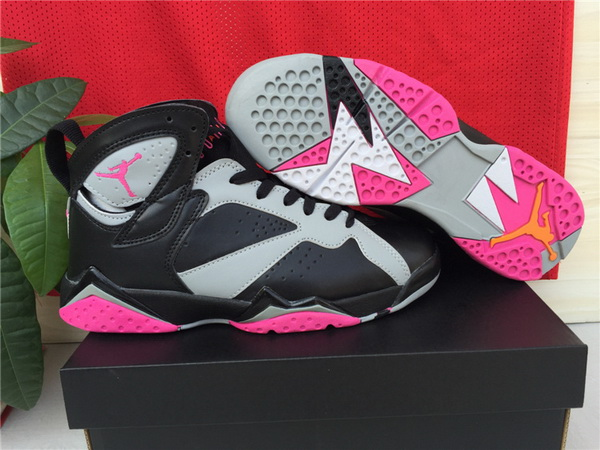 Womens Air Jordan 7 Shoes Black/pink grey