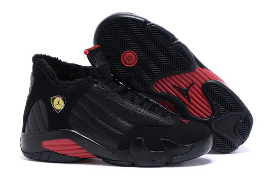 Women's Air Jordan 14 Winter Snow Shoes Black/red