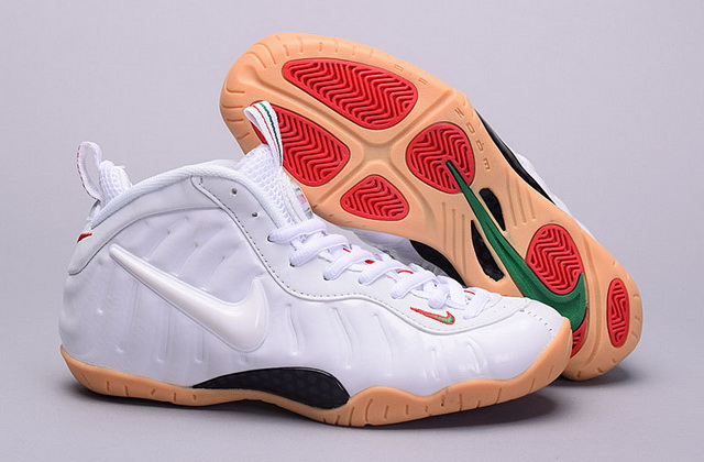 Air Foamposite Pro Women Girl Shoes Winter white/Khaki Red