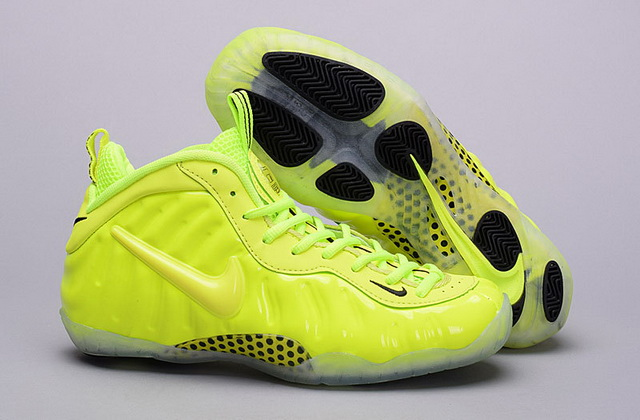 "Air Foamposite pro "" Volt"" Women Girl Shoes Green"