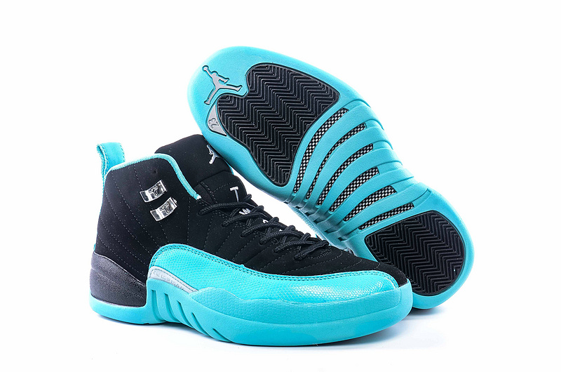 "Womens Air Jordan 12 ""Hyper Jade"" Shoes Gamma Blue/Black"