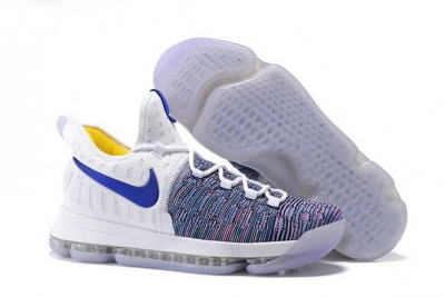 KD 9 Basketball Shoes White/Blue Yellow