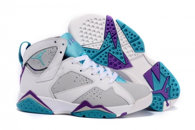 Womens Air Jordan 7 Retro Shoes White/grey blue purple