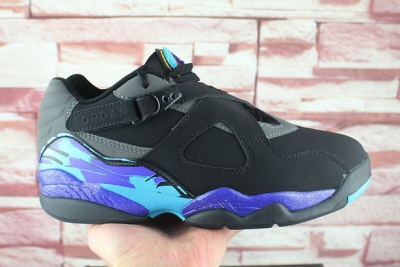 "Air Jordan 8 Low ""Aqua"" Shoes Black/Ture Blue Grey"