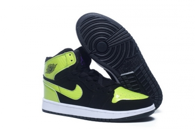 Air Jordan 1 I Retro Shoes Black/green white