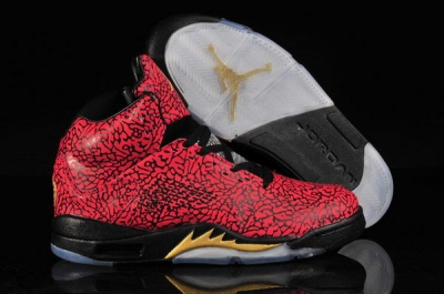 Air Jordan 5 (V) Leopard Shoes red/black cement yellow