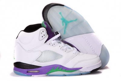 Air Jordan 5 Grape Shoes White/Purple/Green