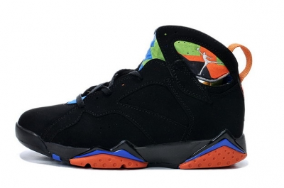 Air Jordan 7 Retro Shoes Black/blue orange